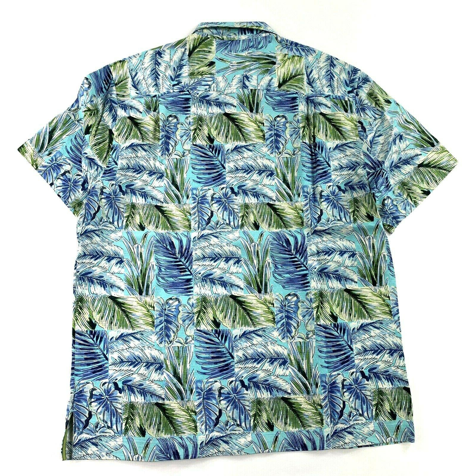 Tommy Think Outside The Fronds Blue 100 Silk