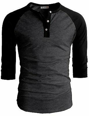 H2H Fit Sleeve Henley Premium Shirts US