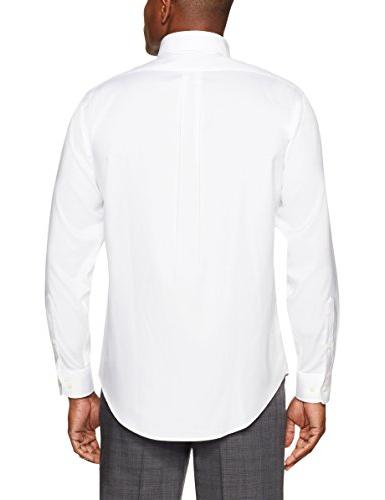 BUTTONED DOWN Men's Classic Fit Button-Collar Non-Iron Dress Shirt Neck
