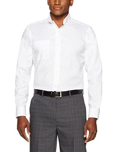 BUTTONED Men's Classic Fit Button-Collar Non-Iron Shirt White, Neck