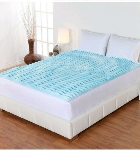 """Cooling Gel Foam Mattress Topper Pad Bed Queen Size 2"""" Ortho"""