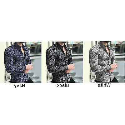 Fashion Men's Slim Fit Casual Floral Shirt Muscle Tops Blouse