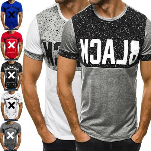 Fashion Men's Slim Fit O-Neck Short Sleeve Muscle Tee T-shir