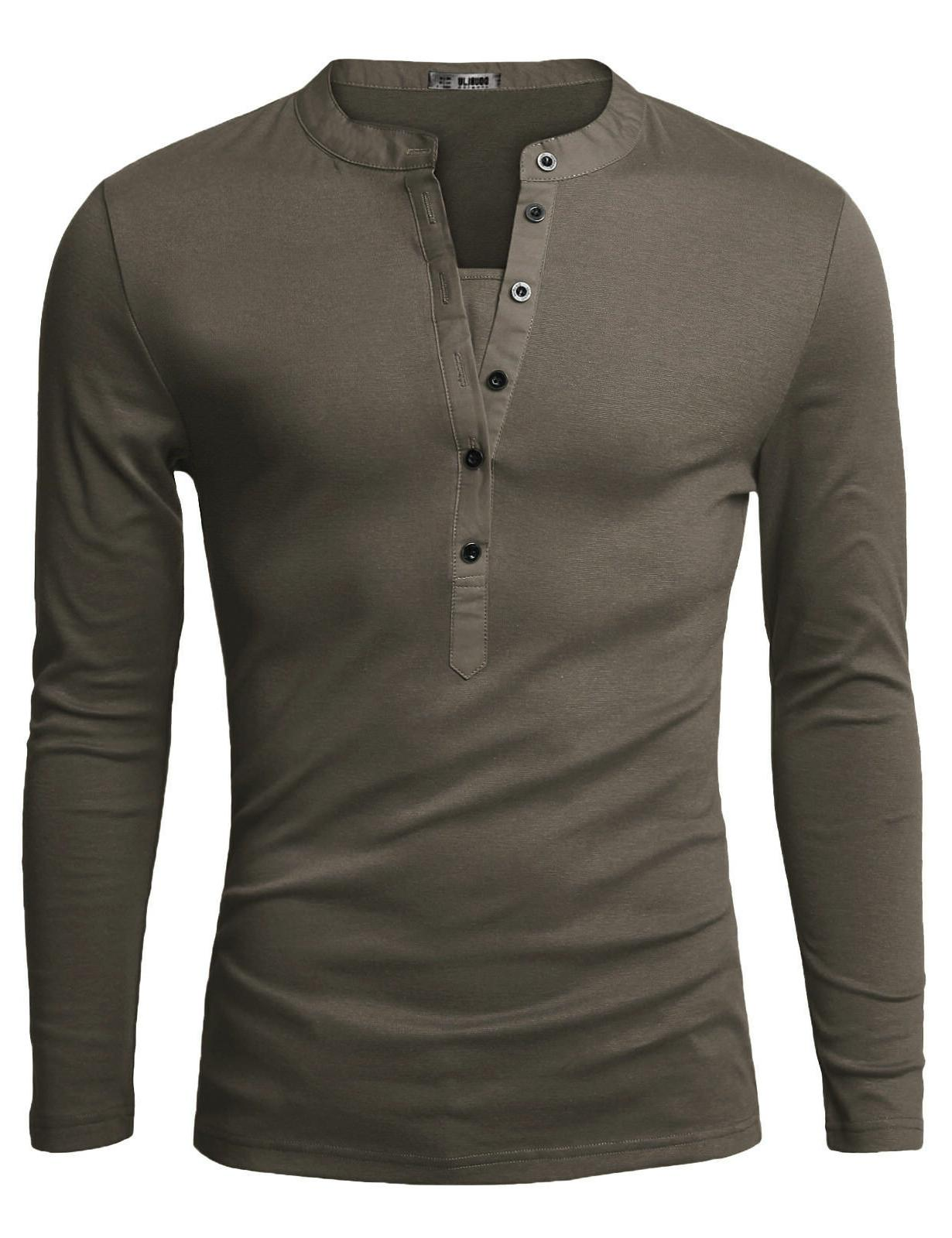 Doublju Fit Sleeve Henley Shirts