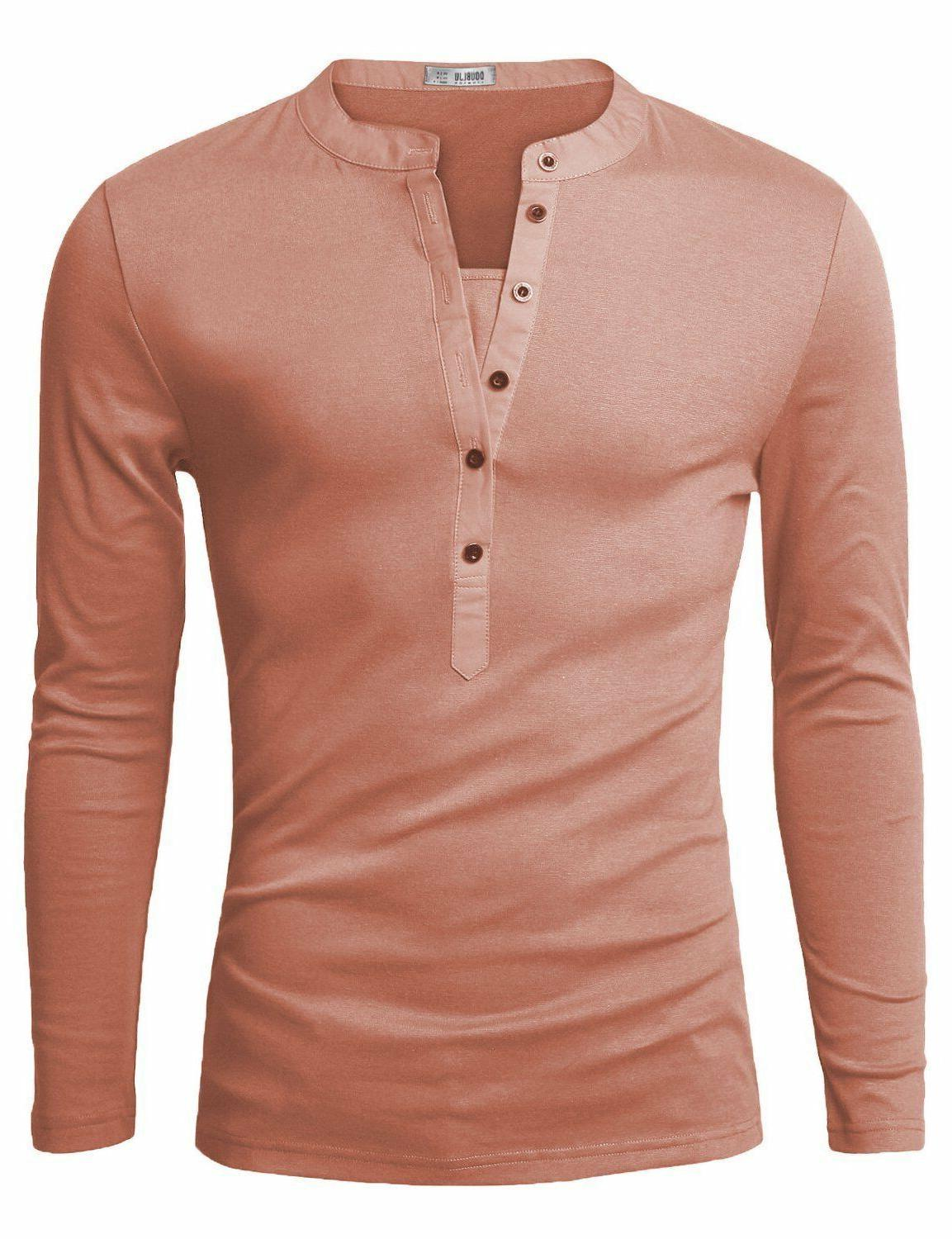 Doublju Fit Long Henley Shirts