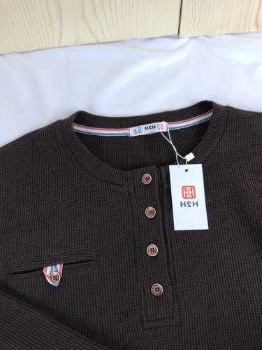 H2H Henley Men's Large Waffle A2