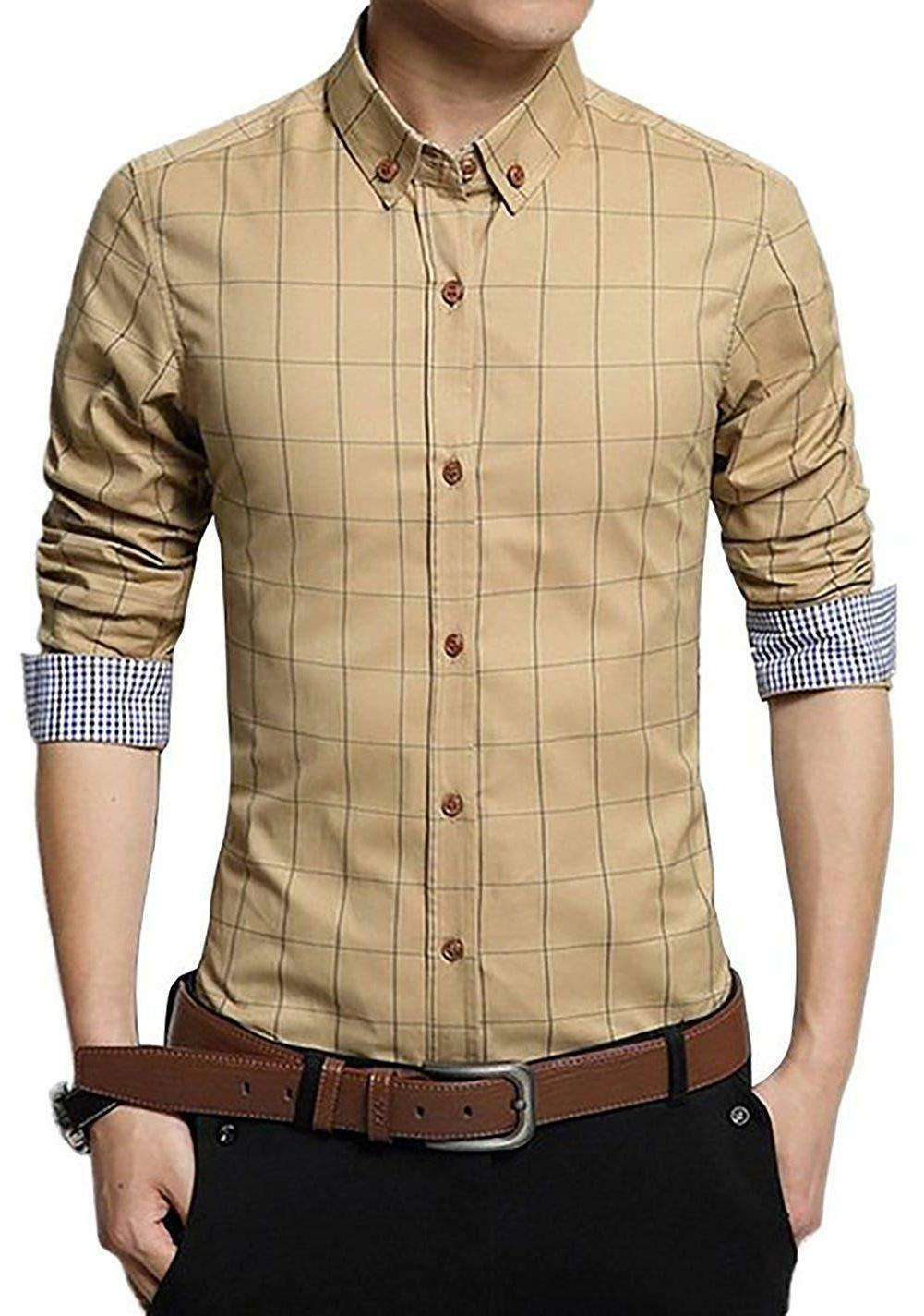 LOCALMODE Men's 100% Long Plaid Fit Shirt