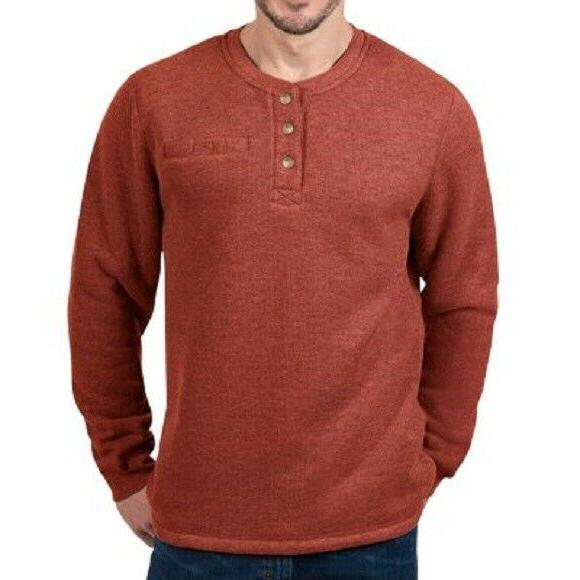 LEE MEN'S SHERPA LINED THERMAL HENLEY, BOMBAY BROWN HEATHER