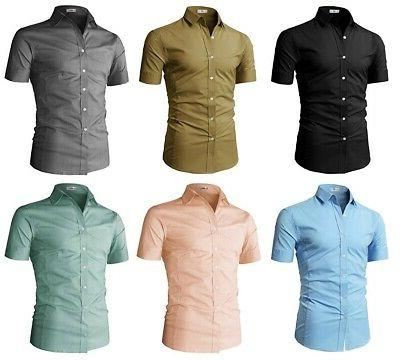 H2H Men's Slim Fit Solid Short Sleeves Formal Dress Shirts o
