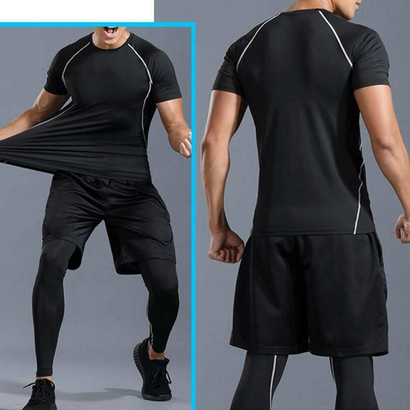 Men Tracksuit Slim Fit Top Bottom Gym Trousers