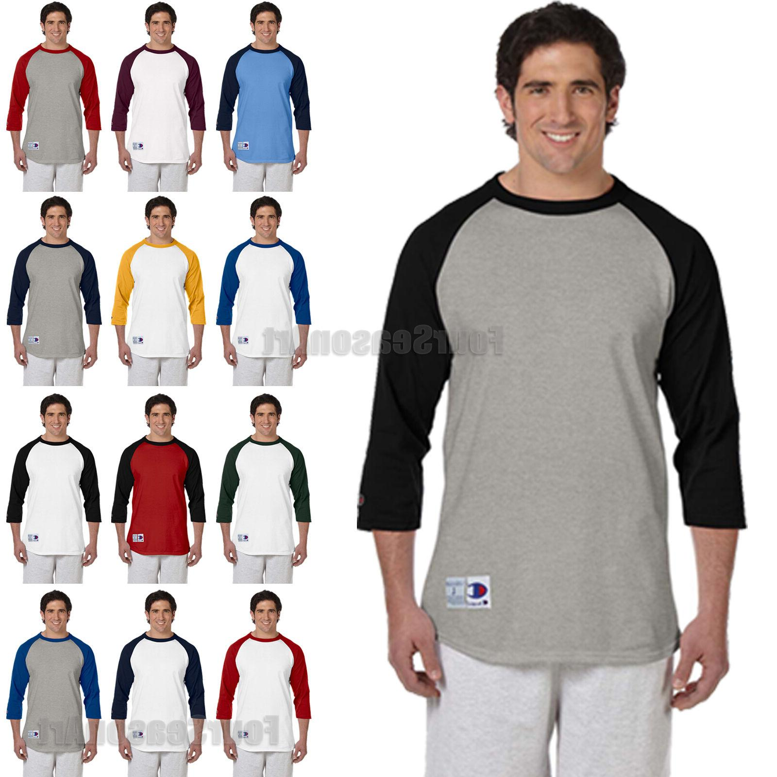 Champion Mens 3/4 Sleeve Baseball T-Shirt S-3XL Raglan Jerse