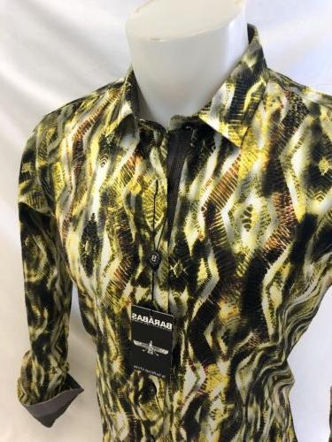 Mens YELLOW ABSTRACT SLIM Button Up B9012