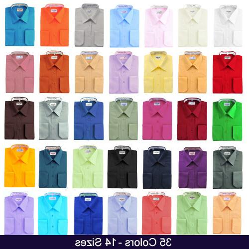 mens dress shirt french convertible cuff solid