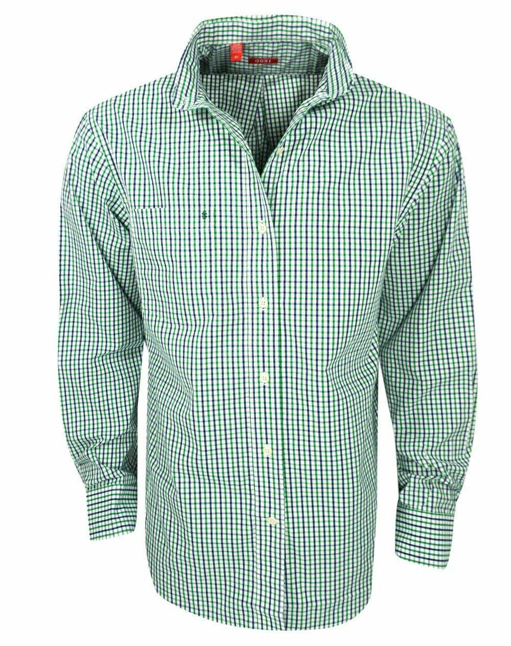 Mens Izod Essential Tattersall Long Sleeve Verdant Green Che