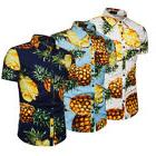 Mens Pineapple Floral Print Shirts Tops Casual Short Sleeve