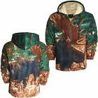 MENS REINDEER FLEECE HOODIE FAUX FUR HOODED SWEAT SHIRT NOVE