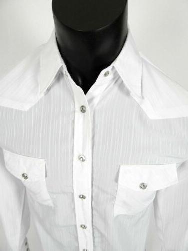 Mens Rodeo Western Style White Jeweled Snaps Slim lw