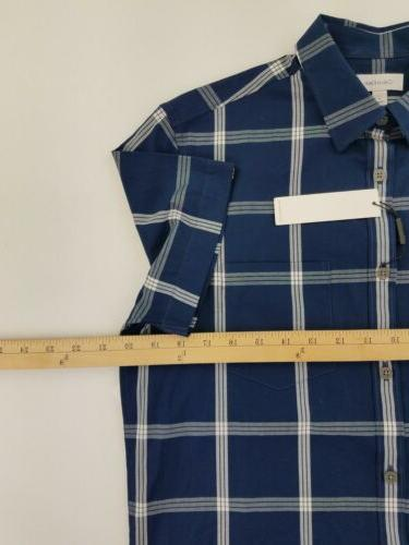 Calvin Mens Shirt Small Button Blue C39-15