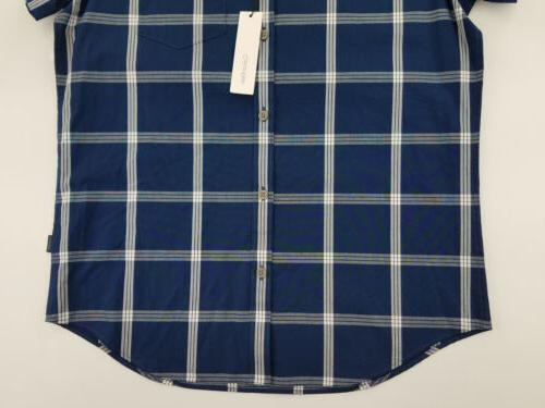 Calvin Klein Mens Shirt Small Plaid Short Sleeve Button
