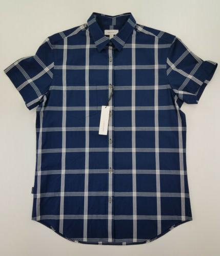 mens shirt small plaid short sleeve button