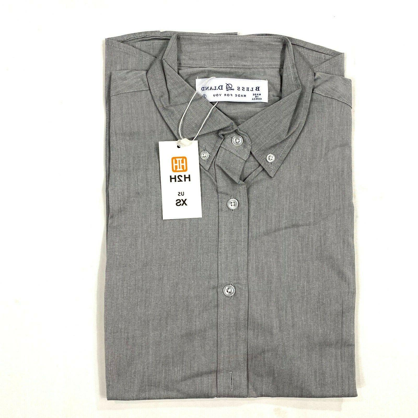 H2H mens fit gray dress shirt size button down