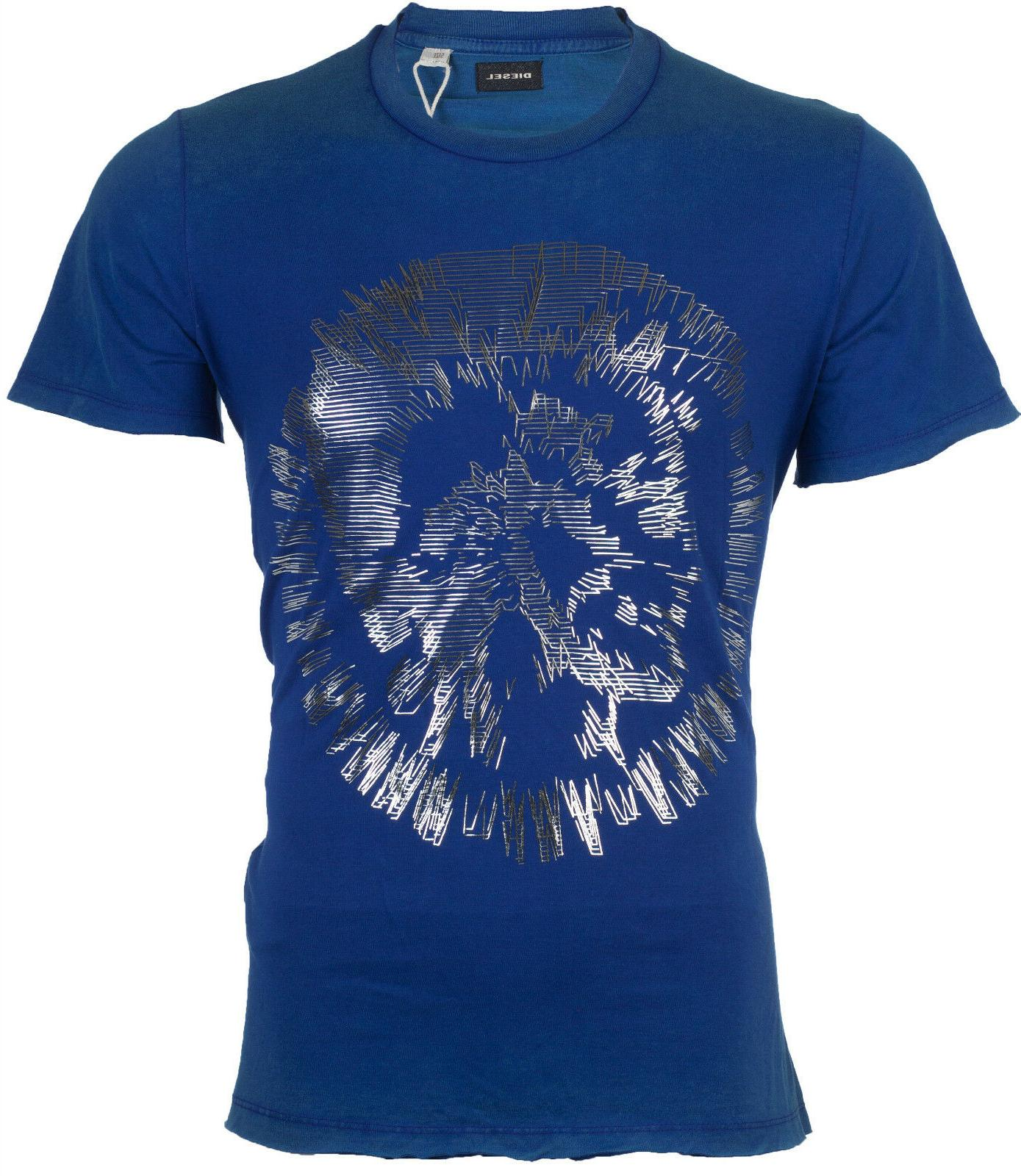 DIESEL Mens T-Shirt MIREY Mohawk ROYAL BLUE SILVER Casual De