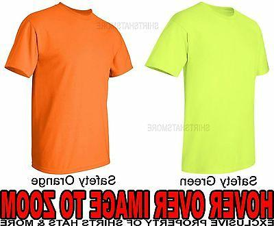 Mens T-Shirt Safety Green Orange Yellow Cotton Blend High Vi