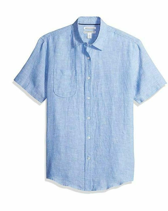 NEW Amazon Essentials Men's Slim-Fit Short-Sleeve Linen Shir
