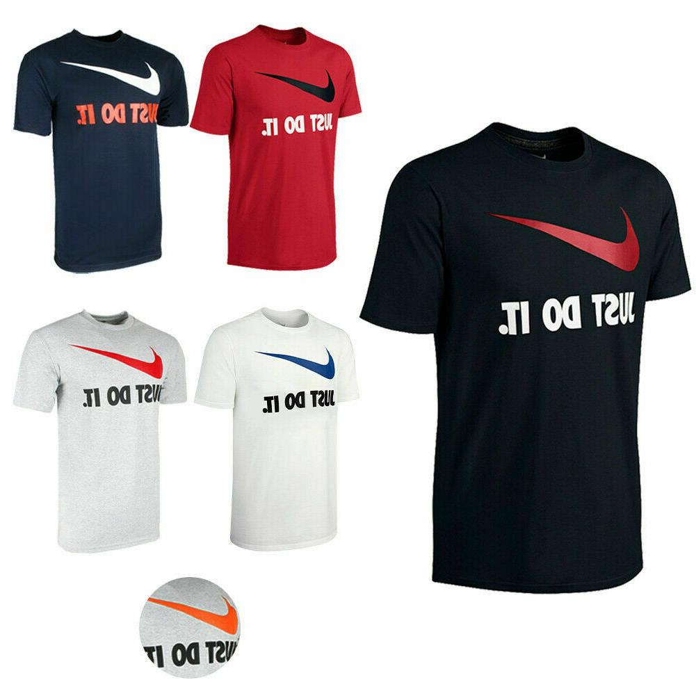 Nike Just Do It Mens Tee Swoosh Logo Graphic Crew Regular Fi