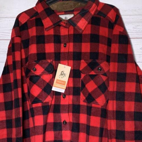 NWT Legendary Whitetails Red Plaid Fleece Down Outdoor Hunting XL