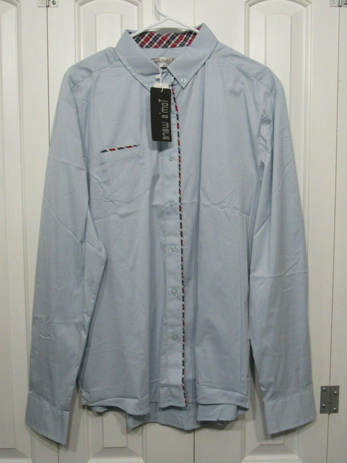nwt toms ware blue button down long