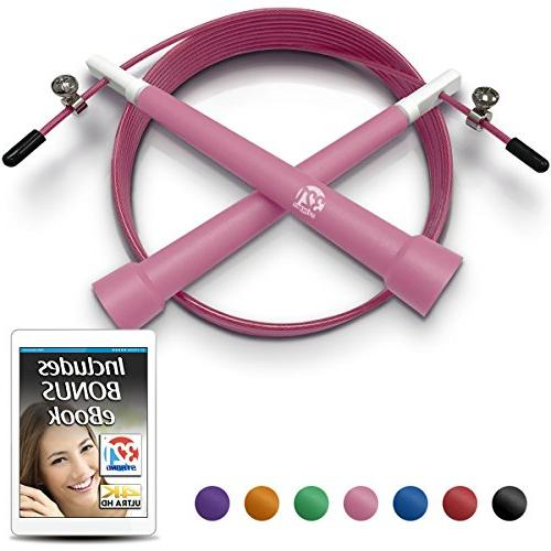 Pink Plastic Fitness Jumprope Adjustable 11 Foot Cable Carry