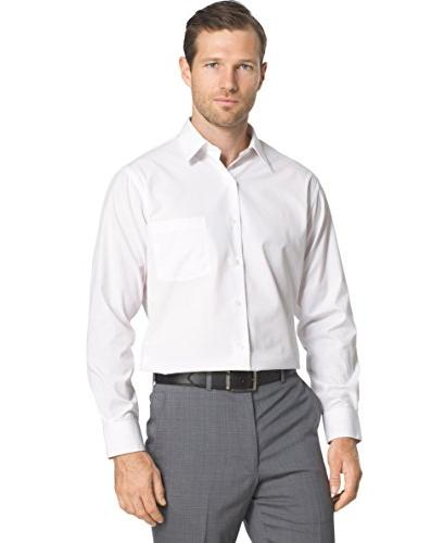 "Fitted Solid Dress Shirt, 15"" Neck Sleeve"