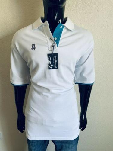 short sleeve white and teal polo shirt