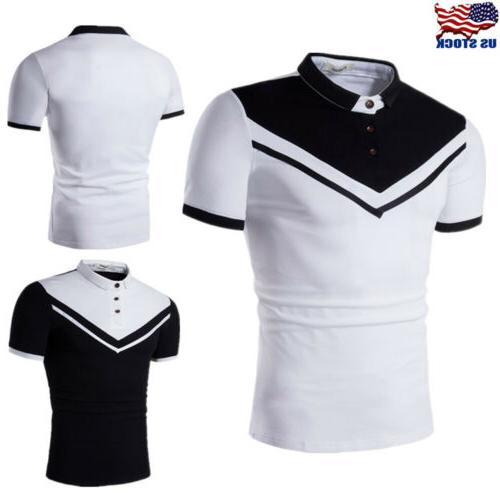 Stylish Men's Slim Fit POLO Shirts Short Sleeve Summer Casua