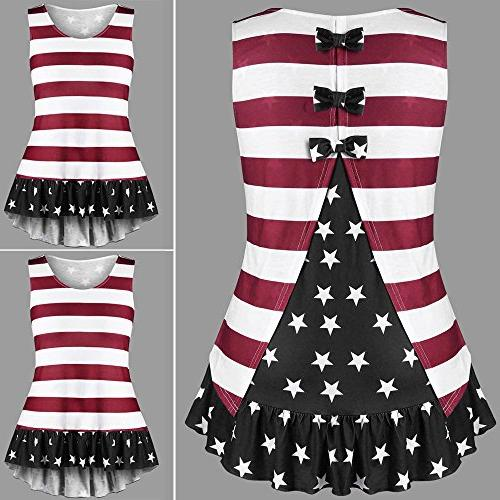 American Flag Loose Shirts Ruffles Tank Tops with