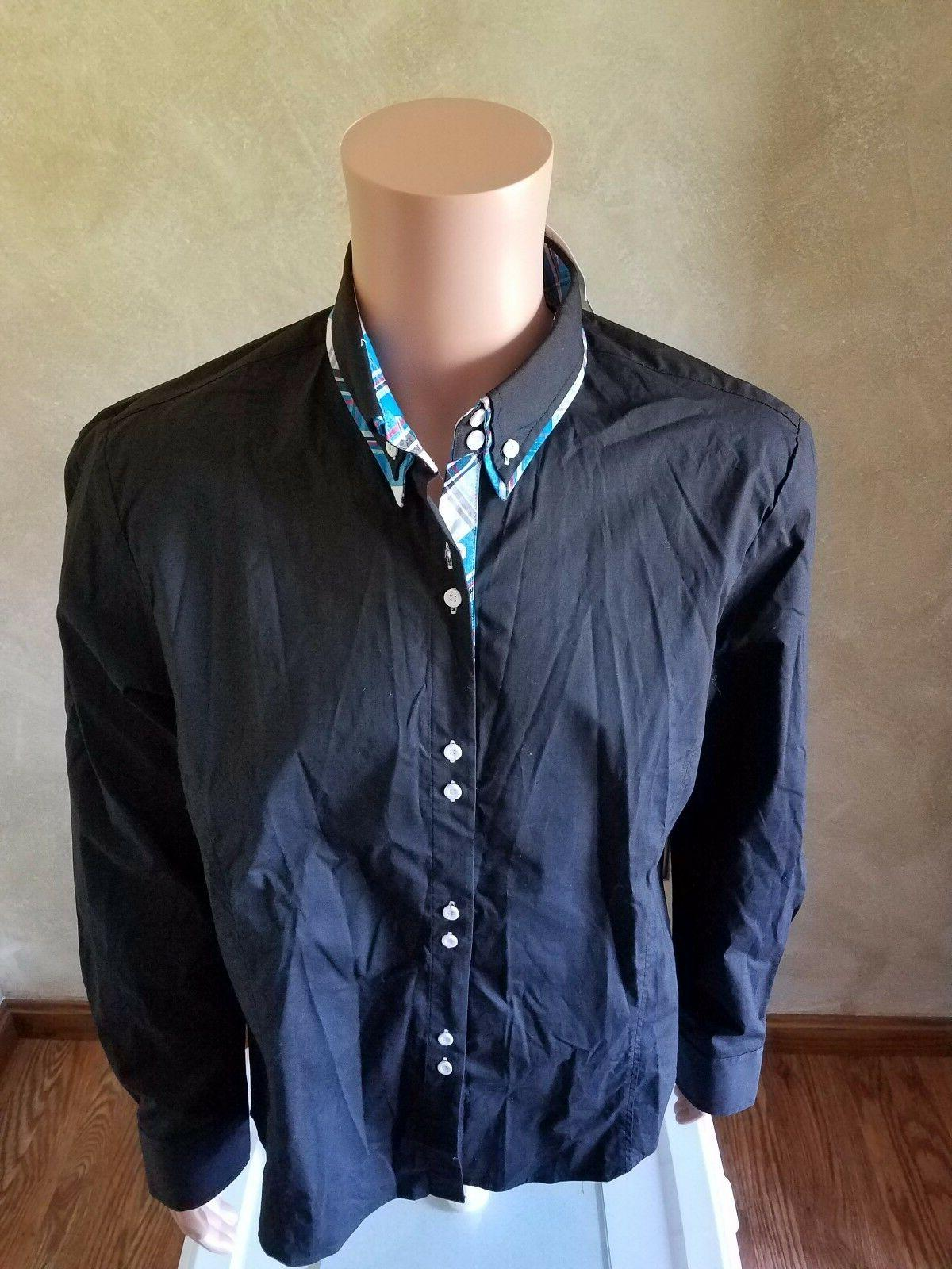 Tom's Ware Mens Trendy Large Inner Checkered Button Down Shi