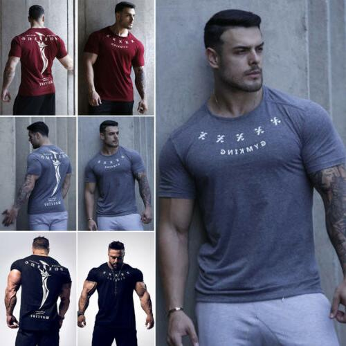 US Short Fitness Muscle Tee T-Shirt Tops