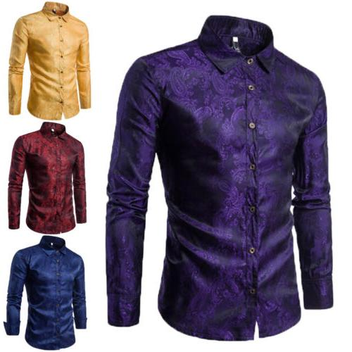 US Men Shirt Long Sleeve Fit Business Dress Top