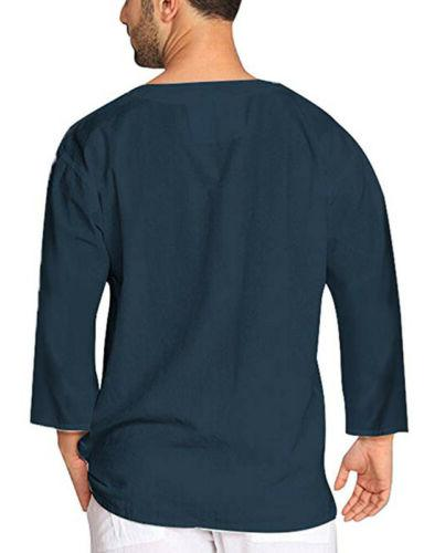 US Mens Cotton Shirts Blouse Sleeve Yoga