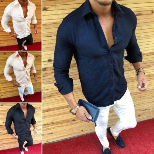 US Mens Men Designer Casual Shirts Fit