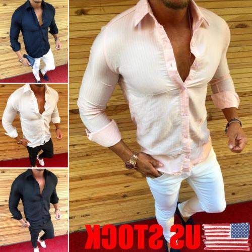 US Mens Formal Shirt Men Plain Dress Designer Casual Luxury