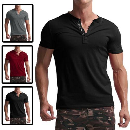 US Mens Henley T-shirts Sleeve Cotton Pullover Comfy