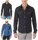 Lee Western Denim Shirt New Men's Black Dark Indigo Blue J