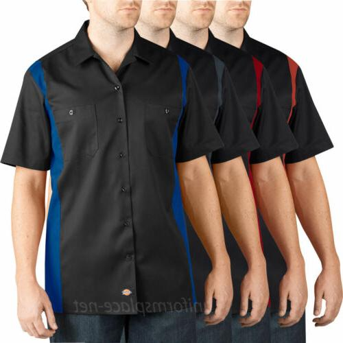 Dickies Work Shirts Men Short Sleeve Two Tone Color Button F