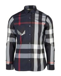 Burberry London men's navy long sleeve casual check button d
