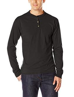 Hanes Men's Long-Sleeve Beefy Henley T-Shirt - Medium - Ebon