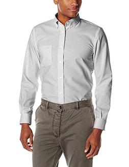 Dockers Men's Long Sleeve Oxford Blend Button Down, Light Br