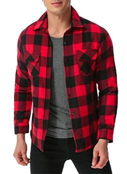 MODCHOK Men's Long Sleeve Plaid Shirts Button Down Stretch F