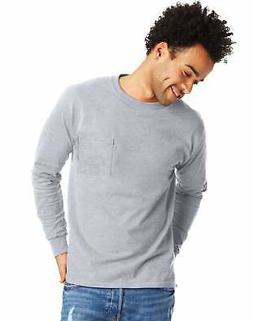 Hanes Long-Sleeve T-Shirt with a Pocket Mens TAGLESS Cotton